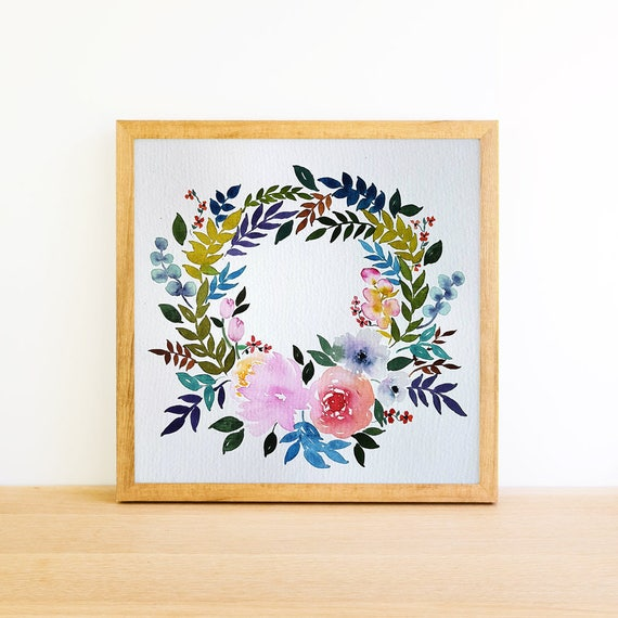 Flower Wreath with Eucalyptus in Watercolor 8x8