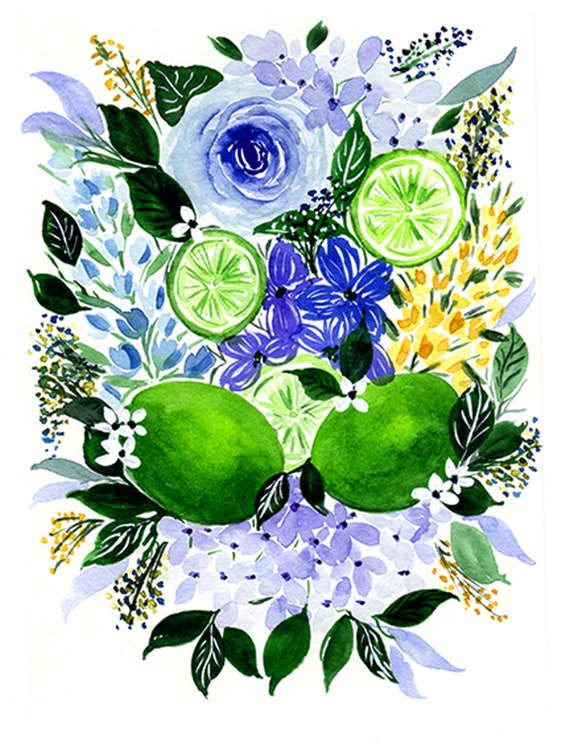 Limes and Flower Swag Mojito Bouquet Note Cards (set of 6)