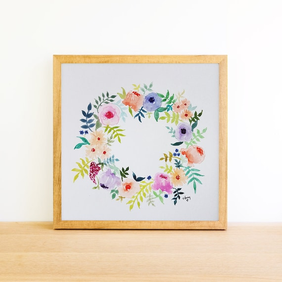 Floral Wreath in Watercolor 6x6