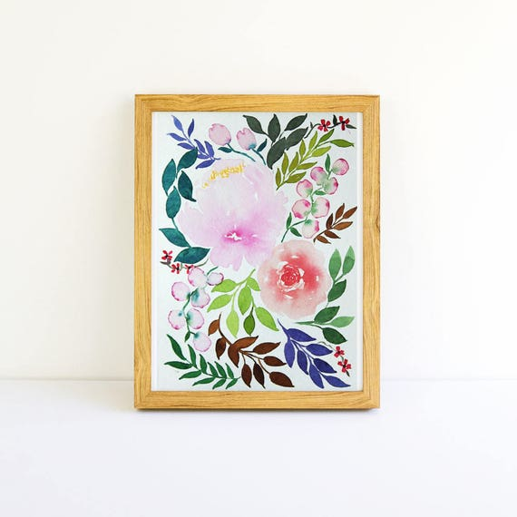 Vintage Flower Bouquet with Peonies in Watercolor 5x7