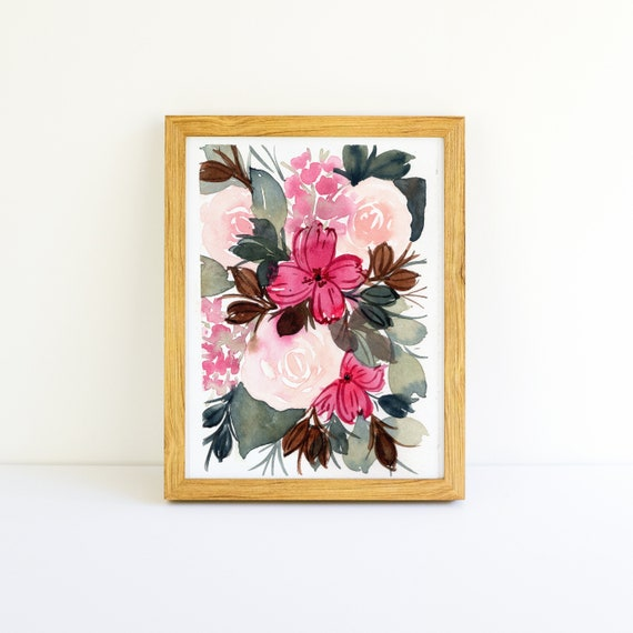 Blush Pink Rose and Flower Bouquet Small Painting in Watercolor 3.75 x 5