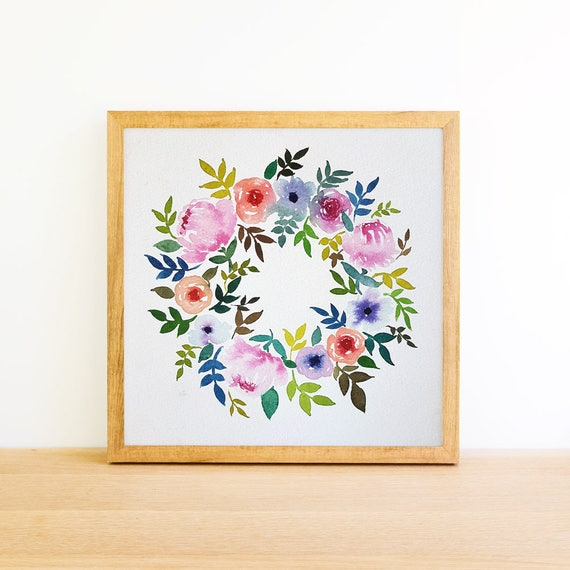 Wreath of Flowers in Watercolor 6x6