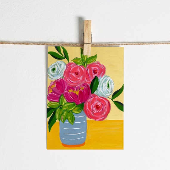 Abstract Spring Roses in Vase - Single Note Card 4.5 x 5.25 size A2