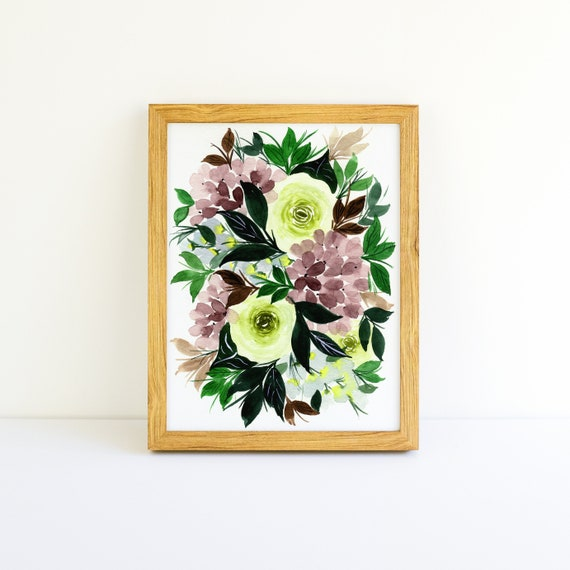 Purple Hydrangea and Sage Green Roses Flower Swag Bouquet in Watercolor 5x7