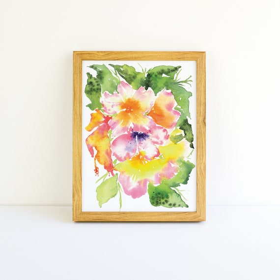 Tropical Explosion of Bright Flowers #4 in a Series in Watercolor 5x7