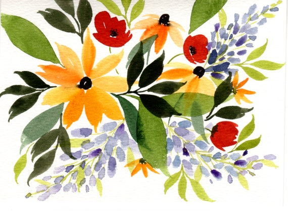 Black Eyed Susan Bouquet Original Watercolor Note Card