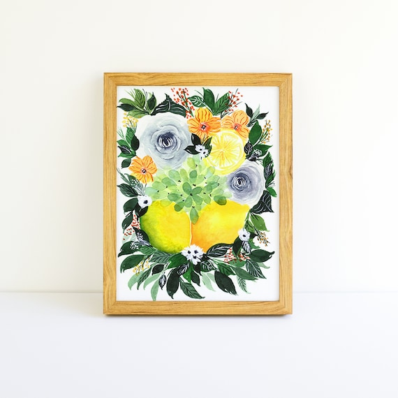 Lemons and Flower Swag Bouquet in Watercolor 5x7