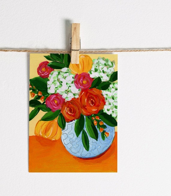 Roses & Hydrangeas in Vase - Single Note Card 4.5 x 5.25 size A2