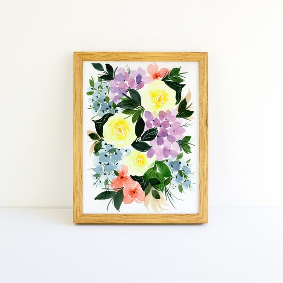 Bright Yellow Roses and Purple Hydrangea Flower Swag Bouquet in Watercolor 5x7