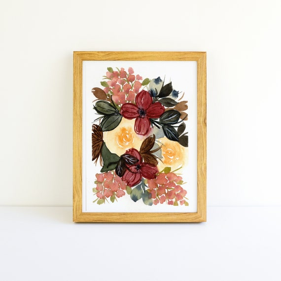 Yellow Rose and Copper Lilac Flower Bouquet Small Painting in Watercolor 3.75 x 5