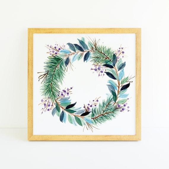Winter Wreath Cool Blues in Watercolor 8x8