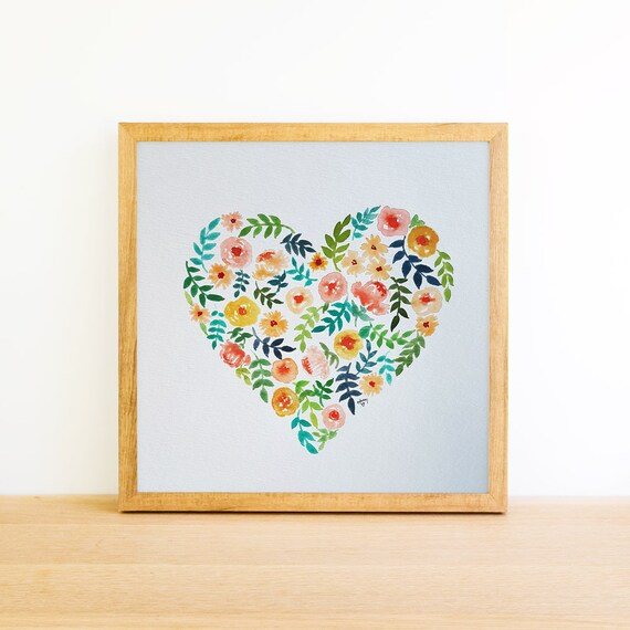Heart Floral in Watercolor 8x8