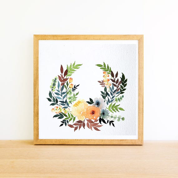 Floral Horseshoe Wreath in Watercolor 6x6