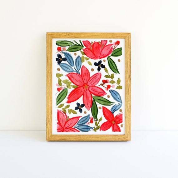 Bright Christmas Flower Pattern with Gold Small Painting in Watercolor 3.75 x 5