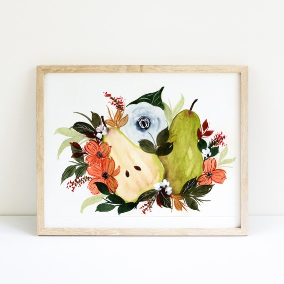 Pear and Flower Swag Bouquet in Watercolor 5x7