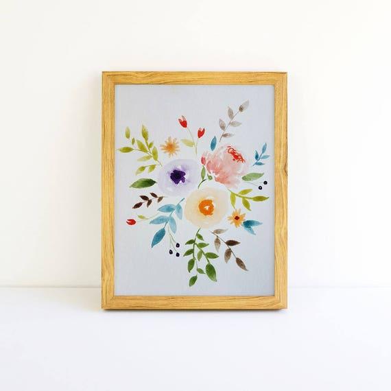 Watercolor Flower Bouquet 5x7