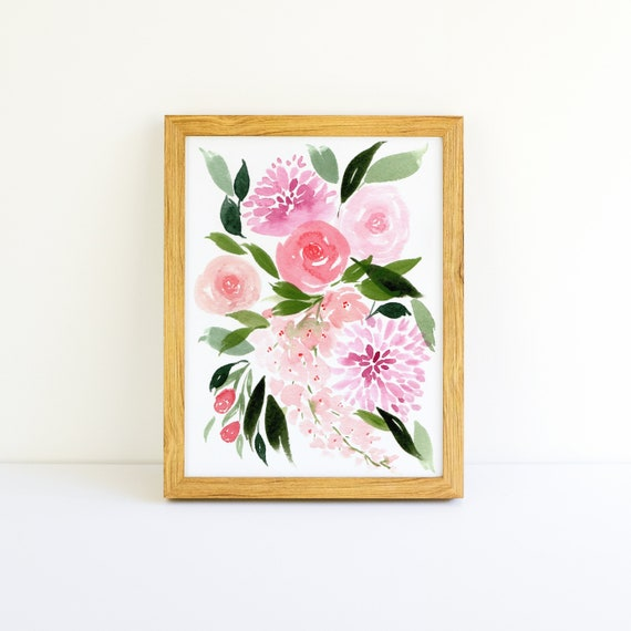 Pink Flowers in Watercolor 5x7