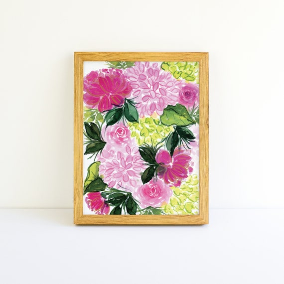 Bright Pink Peony and Hydrangea Blossoms with Gold in Watercolor 9x12