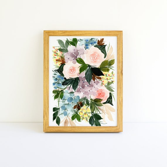 Delicate Pink Roses and Purple Hydrangea Flower Swag Bouquet in Watercolor 5x7