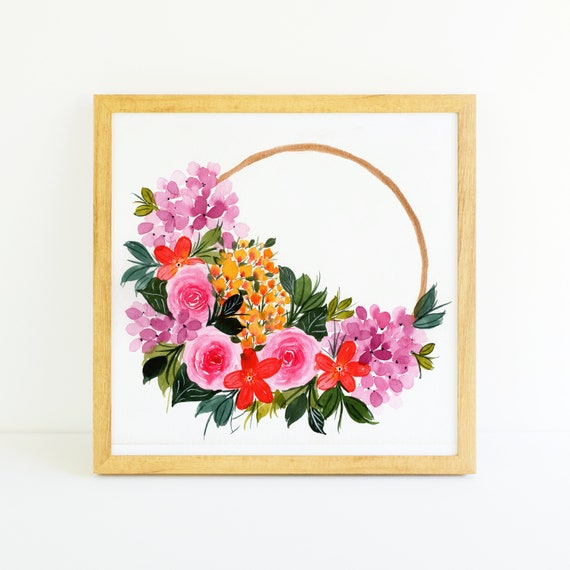Bright Pink Rose and Hydrangea Flower Gold Ring Wreath in Watercolor (11x11)