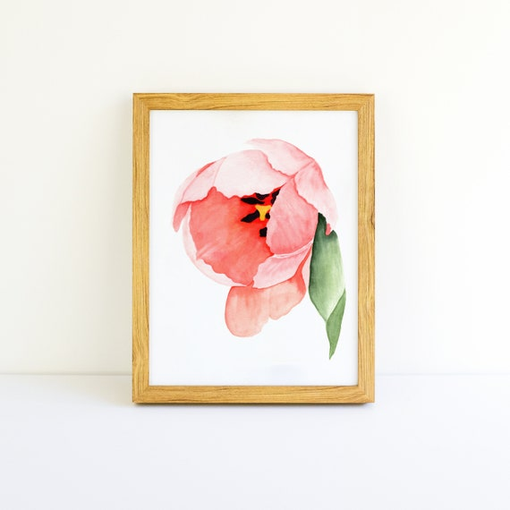 Pink Tulip Watercolor 8x10