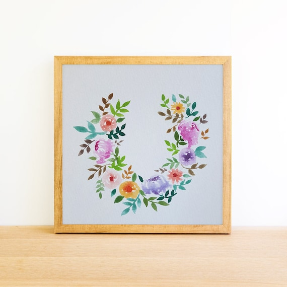 Horseshoe Wreath of Flowers in Watercolor 6x6