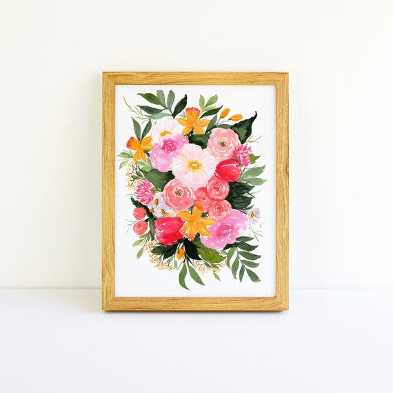 Spring Daffodils and Tulips Bouquet with Roses in Watercolor 9x12