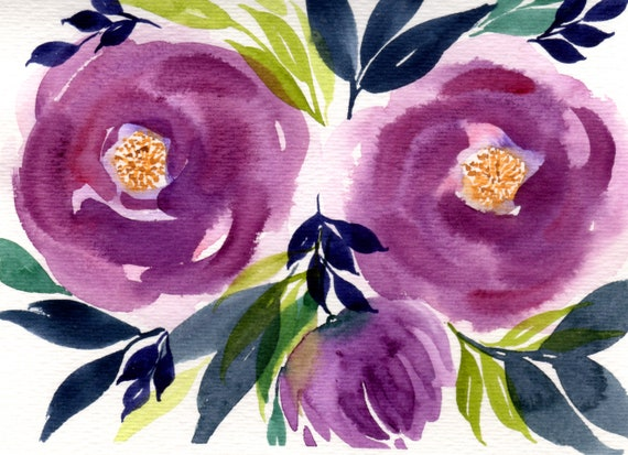 Purple Flower Bouquet Original Watercolor Note Card