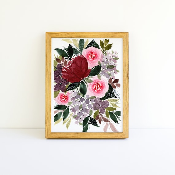 Red Roses and Burgundy Flower Swag Bouquet in Watercolor 5x7