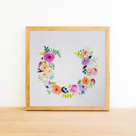 Horseshoe Flower Wreath in Watercolor 6x6