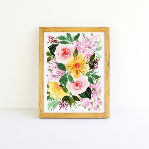 Pink Roses and Yellow Flower Bouquet (5x7)