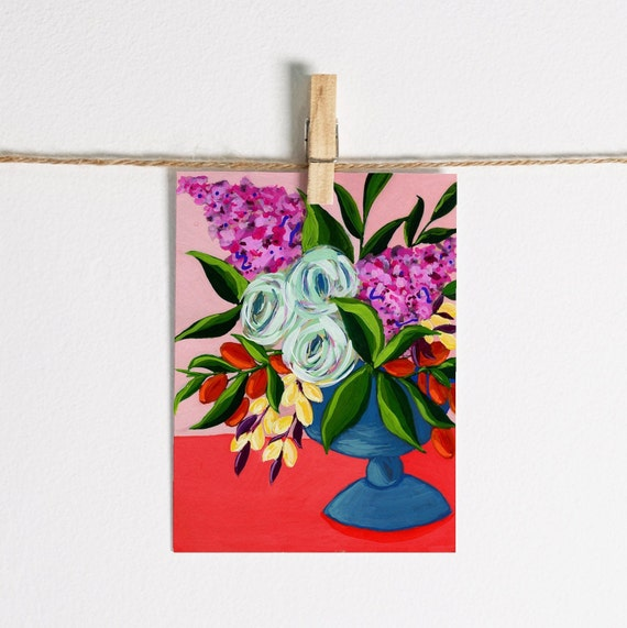 Bright Roses and Lilacs in Blue Footed Vase - Single Note Card 4.5 x 5.25 size A2