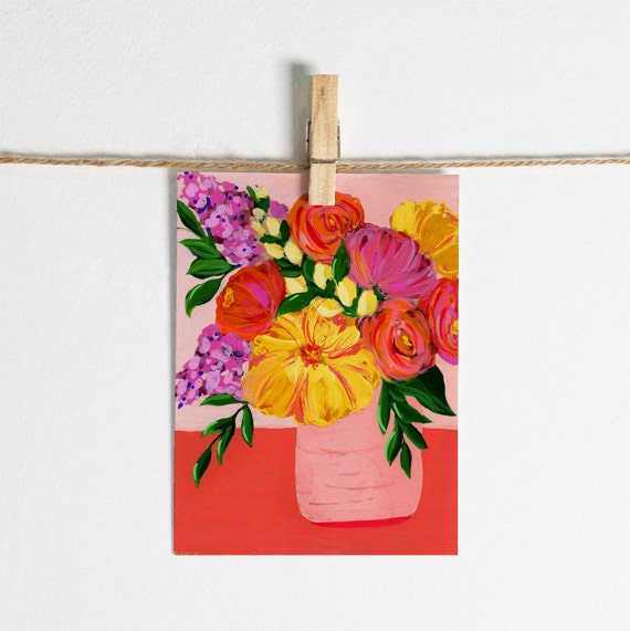 Abstract Peony & Roses in Vase - Single Note Card 4.5 x 5.25 size A2