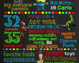 Toy Story Birthday Chalkboard Poster DIGITAL FILE