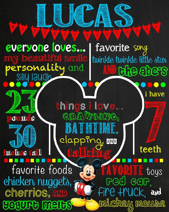Mickey Mouse Clubhouse Halloween Birthday Stat Chalkboard ANY AGECOLORS digital poster