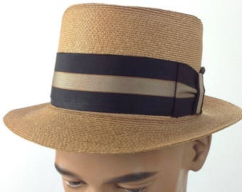 1950 S Straw Fedora   Italian from MILAN   CHURCHILL Label   Tight Brim    Men s Size 7 ec3807518754