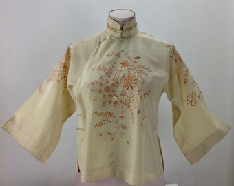 e1cf857ef4a795 1930 S-40 S Mandarin Chinese Blouse   Fine Quality Silk   Mandarin Collar    Detailed Embroidery   Women s Size Small to MEDIUM
