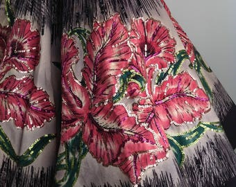 """1950's Mexican Full Circle Skirt / ORCHID BORDER PRINT / Hand Painted / Sequins / 25-1/2"""" inch Waist"""