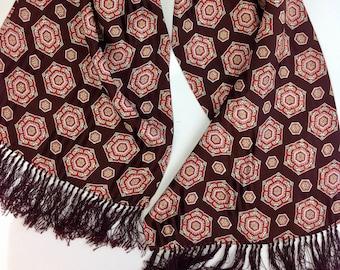 1940'S Vintage Rayon Scarf / Hexagon Jacquard Print /  Tuxedo Scarf / OPERA Scarf / Knotted Fringe / Men's Dress Scarf