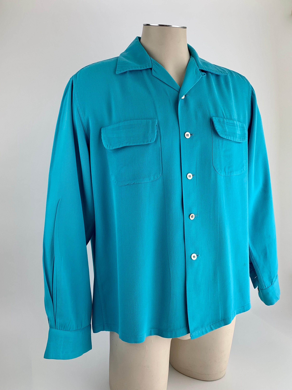 1940s Men's Shirts, Sweaters, Vests 1940s Rayon Gabardine Shirt - Robins Egg Blue Flap Patch Pockets Loop Collar Top Stitching Mens Size Medium $22.95 AT vintagedancer.com