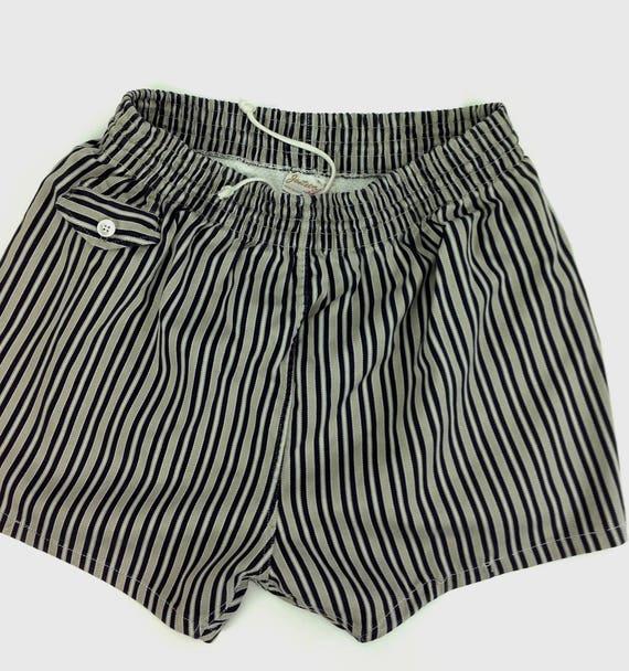 1950 de maillots de bain / rayé coton /JANTZEN sergé /JANTZEN coton / doublé / poche avec bouton de pièce / Taille Medium d7b614