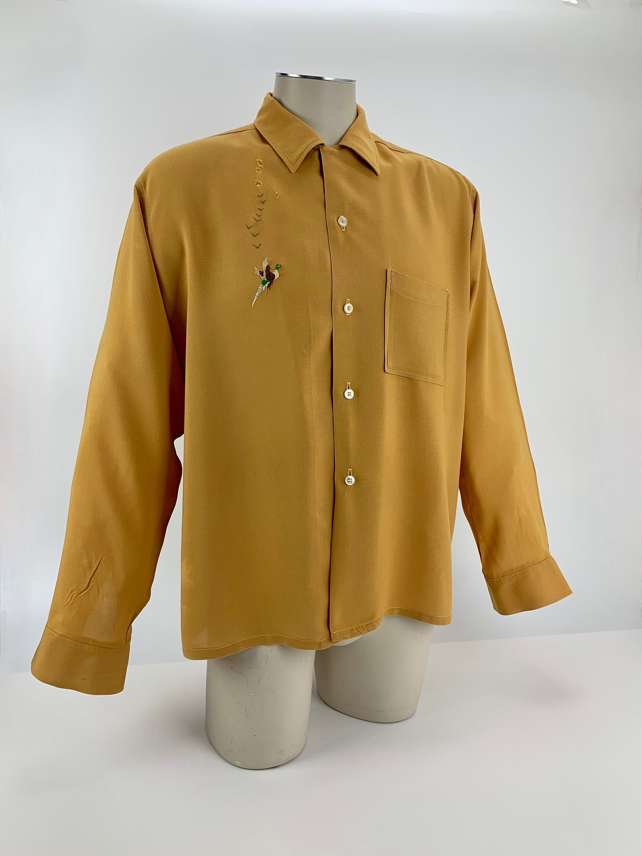 1950s Mens Hats | 50s Vintage Men's Hats 1950s Rayon Shirt - Brent Label Embroidered Pheasant Loop Collar Patch Pocket Mens Size Large As Is $22.95 AT vintagedancer.com