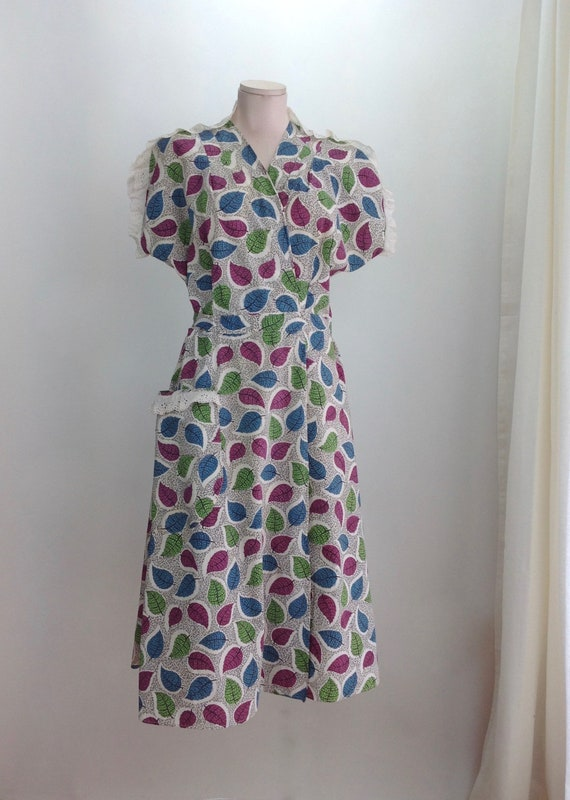 1940'S Wrap-a-Round Dressing Gown - All Cotton - L