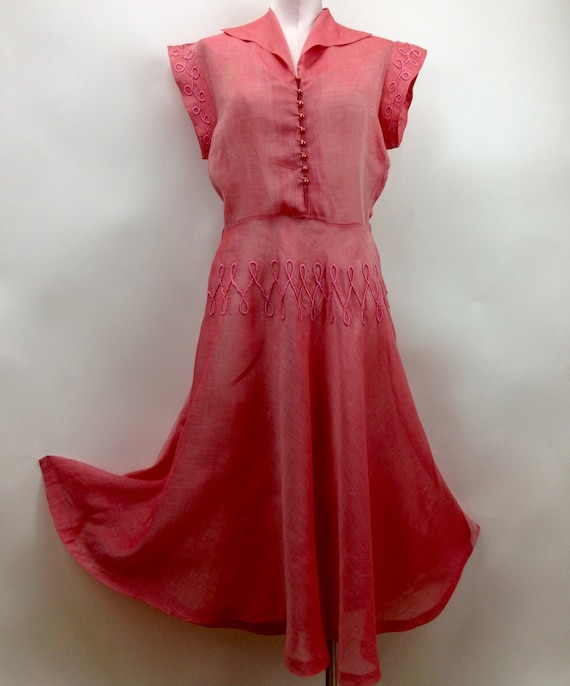 1950's SHEER ORGANDY Dress / Salmon with Decorativ