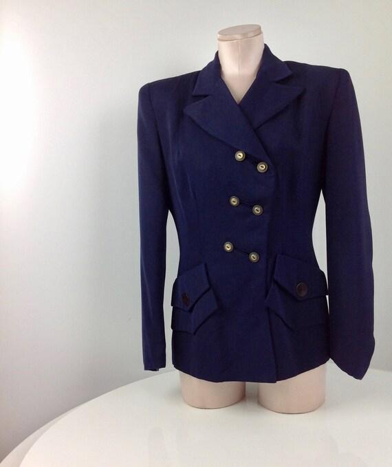 1940'S Gabardine Jacket / Rayon Gabardine / Asymme