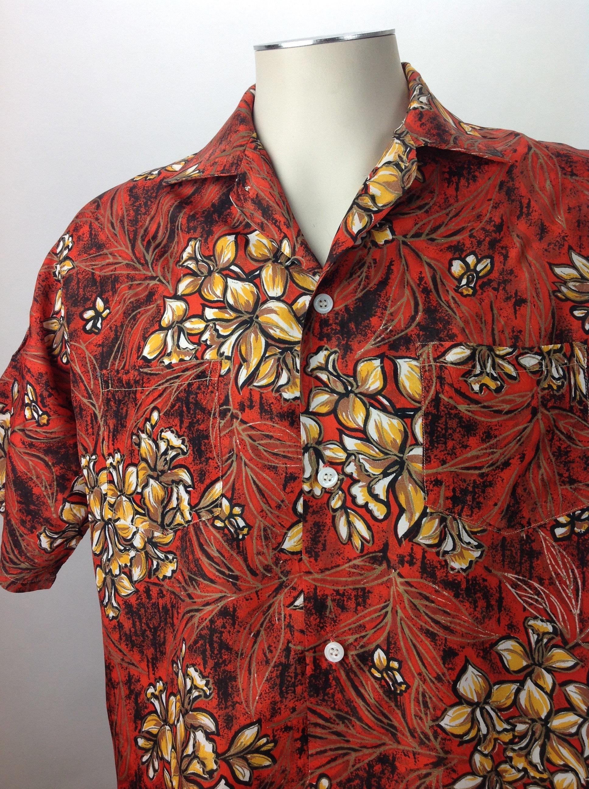 1950s Mens Hats | 50s Vintage Men's Hats Vintage 1950s-60s Hawaiian ShirtBy Paradise Isle Rich Colors Rayon - Acetate Blend Mens Size Medium $22.95 AT vintagedancer.com