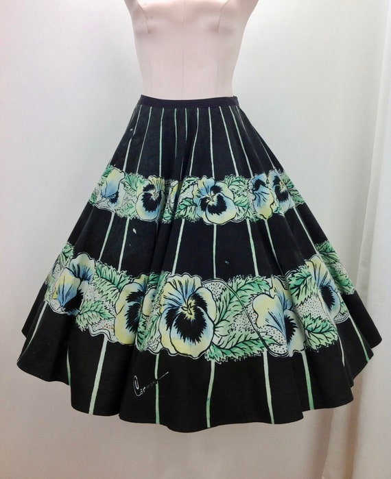 1950's Full Circle Skirt - Hand Painted - MEXICAN