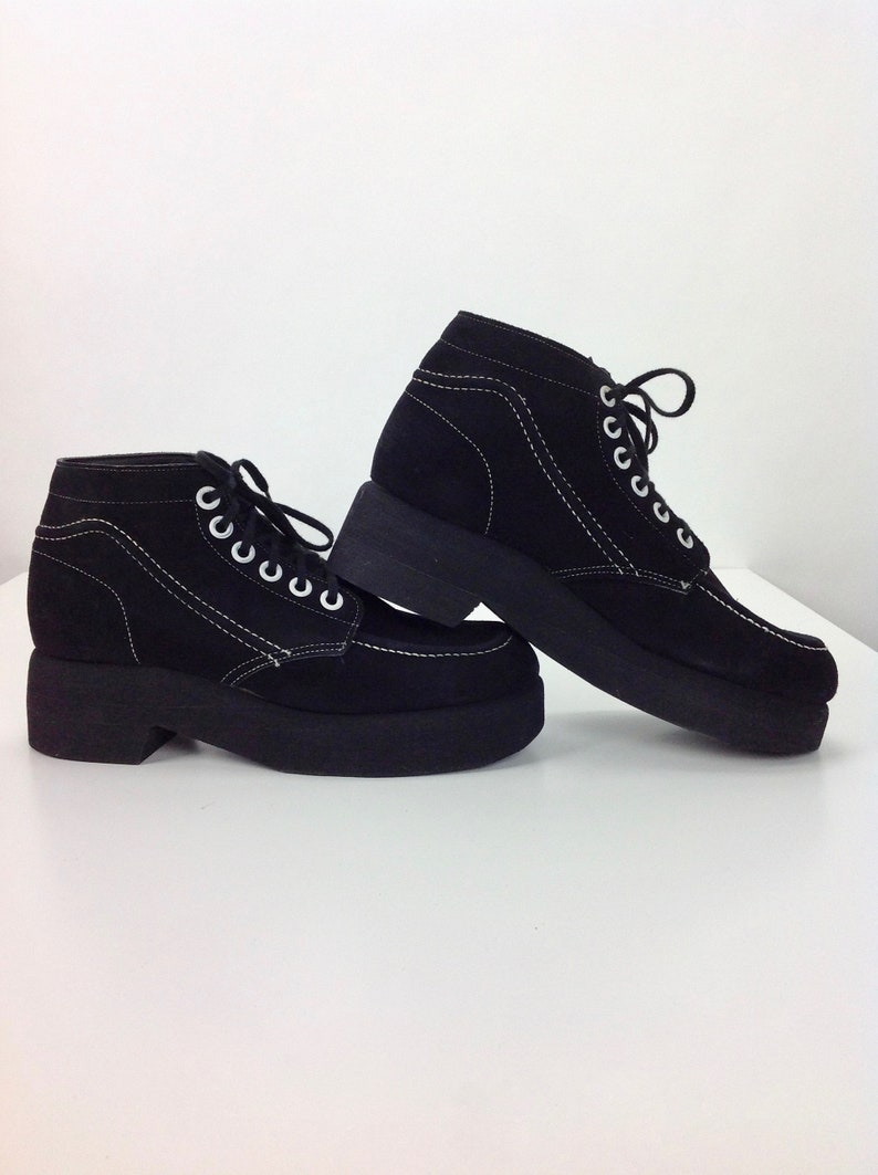 70c5e51626ae9 1970'S High Top Platform Shoes / Black Suede / White Contrasting Top  Stitching & Grommets / Never Worn / Vintage Dead Stock / Mens Size 11