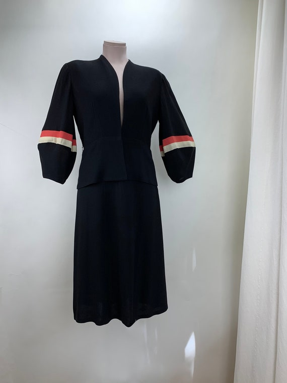 1930's-40's Two Piece Suit - Black Rayon with Stri