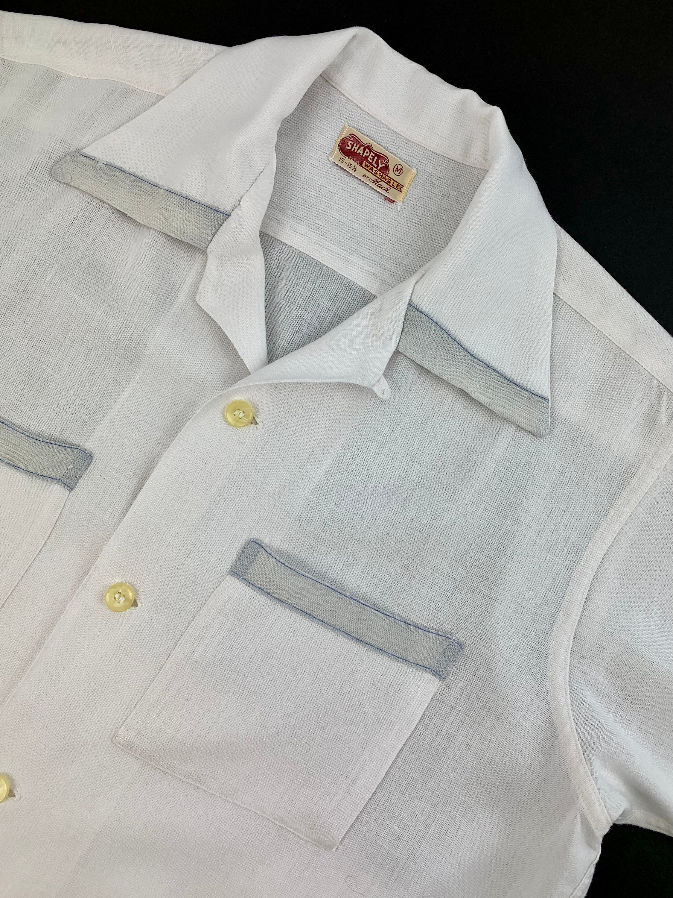 1940s Men's Shirts, Sweaters, Vests 1940s Rayon Shirt - Shapley Label Summer Weight Fabric -White With 2-Tone Gray Details Loop Collar Mens Size Medium $22.95 AT vintagedancer.com